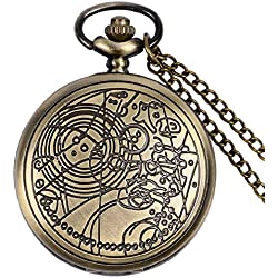 "DR WHO Bronze Effect Retro/Vintage Case Full Hunter Mens/Boys Quartz Pocket Watch Necklace - On 32"" Inch / 80cm Chain"