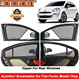 Autofact Half Magnetic Window Sunshades/Curtains for Fiat Punto [Set of 4pc - Front 2pc Half Without Zipper ; Rear 2pc Full with Zipper] (Black)