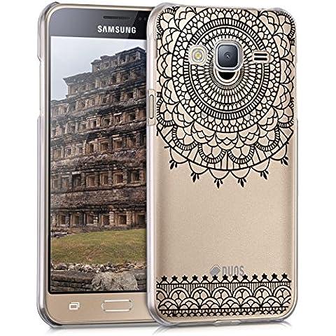 kwmobile Elegante e leggera custodia Crystal Case Design Art Deco per Samsung Galaxy J3 (2016) DUOS in nero trasparente
