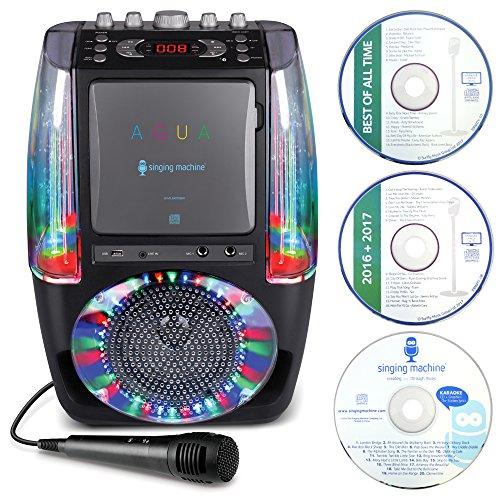 Singing machine sml605bk agua impianto per karaoke con bluetooth, fontana d'acqua in movimento, sistema di luci da discoteca a led, microfono cablato e 3 cd, nero