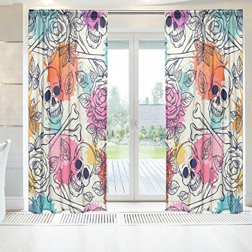 ingbags Elegante Voile Fenster Lange Sheer Vorhang 2Platten Totenkopf und Rosen Print Tüll Polyester für Tür Fenster Zimmer Dekoration 139,7x 198,1cm, Set von 2, Polyester, mehrfarbig, 55 x 78 Inch
