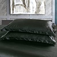"DEHMAN Satin 600 TC Pillow Cover (Black_12""X19"")"