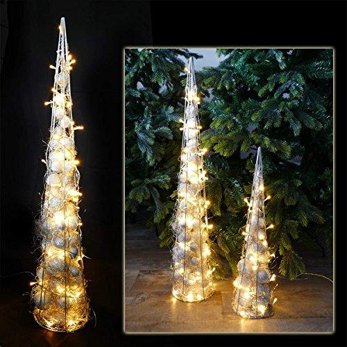Pyramide 90 cm mit 60 LED beleuchtet aus Draht für Weihnachten Deko