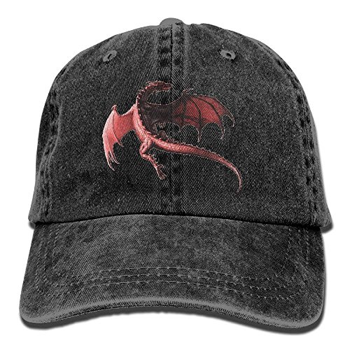 Classic Men&Women Dragon Red Washed Denim Cotton Natural Baseball Caps Outdoor Sports Fish Dad Hats