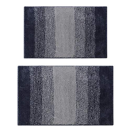 GoMaihe Badematte Antirutsch Set 2 Teilig, rutschfest Waschbar Badteppich Gradient 80 x 50cm und 60 x 45cm, Polyester Saugfähig Teppich Fußmatte für Badezimmer Wohnzimmer Schlafzimmer Küche, Grau
