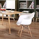 Lot von 4 Esszimmerstuhl, Ajie Retro Stuhl Beistelltisch mit solide Buchenholz Bein - weiß - 2