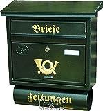Wandbriefkasten,Briefkasten, groß XXL, Premium-Qualität aus Stahl, verzinkt, pulverbeschichtet F groß in grün dunkelgrün moosgrün Zeitungsfach Zeitungen Post antik Mailbox Schild