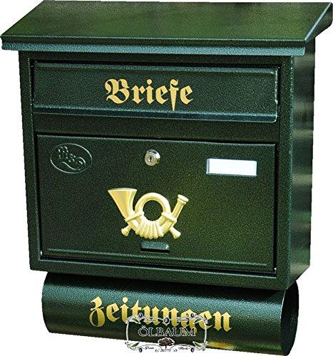 Preisvergleich Produktbild Wandbriefkasten,Briefkasten, Premium-Qualität aus Stahl, verzinkt mit Rostschutz F groß in grün dunkelgrün moosgrün Zeitungsfach Zeitungen Post antik Mailbox Schild