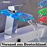 LED Waschtischarmatur RGB Glas Wasserfall Wasserhahn Chrom Bad Waschbeckenarmatur Waschtischarmatur Einhebelmischer 3 Farbewechsel NVT102