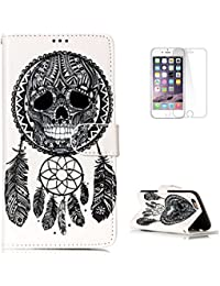 iPhone 6 Plus/6s Plus PU Leather Flip Case KaseHom + [Free Screen Protector] Magnetic Wallet Skull Chimes Painting Design Holster with [Card Holder] [Kickstand] Slim-Fit Shockproof Cover