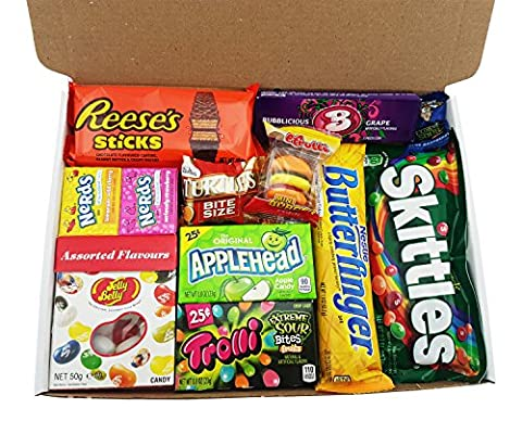 Boîte American Candy | Mini Coffret Cadeau Américain Bonbons, Chocolat, Jelly Belly Beans | Sélection de confiseries chocolats authentiques