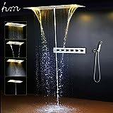 hm Badezimmer Duschset Zubehör Wasserhahn Panel Tap Warm und Kaltwasser Mixer LED Decke Duschkopf Regenfall Wasserfall Dusche