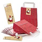 10 rot weiß gepunktete Papiertüten HEILIGER NIKOLAUS Geschenk-tüten Weihnachtstüten Boden 18 x 8 x 22 cm kleine Papiertaschen + Aufkleber rot weiß Verpackung Weihnachten rot weiß beige