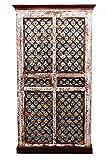 Orientalischer grosser Schrank Kleiderschrank Billur -2- 140cm hoch | Marokkanischer Vintage Dielenschrank schmal | Orientalische Schränke aus Holz massiv für den Flur, Schlafzimmer, Wohnzimmer oder Bad