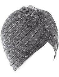 QHGstore Mujeres Twist plisado volante Chemo Pre atado Turbante Cap abrigo de pelo Cover Up plata