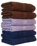 #7: Trident Piece Dyed Home Essentials Cotton 6 Pcs Hand Towel Set, 400 GSM - Brown, Midnight Blue, Lavender