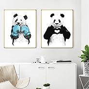 Terilizi Moderne schattige karikatuur panda poster druk dier canvas schilderij afbeelding huis slaapkamer muurkunst decorati