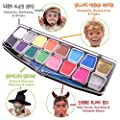 Halloween Face Paint Kit, Big Bumper 16-Pack for Kids. Face Painting Set with Stencils. Professional Party Palette, 14 Colours, 2 Sponges, 2 Brushes, Glitter Gel, FREE eBook Safe Non-Toxic Water-Based