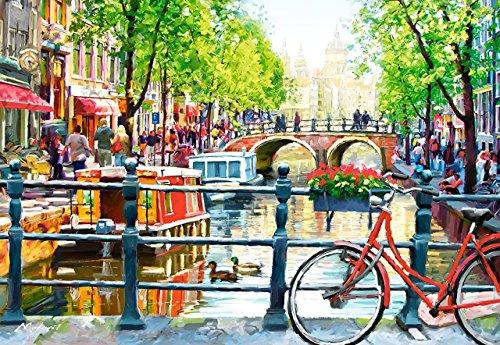 Preisvergleich Produktbild Puzzle 1000 Teile - Amstersdam - Hausboot mit Brücke & Grachten - Zeichnung - Gemälde - Straße - Fahrrad Holland / Niederlande - Stadt - Landschaft romantisches Motiv - Gracht - Blumen
