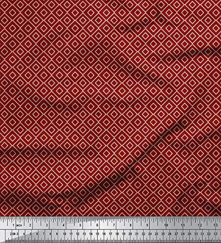Rayon-gewebe (Soimoi 58 Zoll Breit Rayon Viskose-Gewebe 115 GSM Geometrischer Druck Craft Stoff Durch Die Messgerät - Maroon)