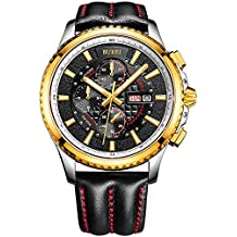 BUREI® (MD) Reloj de día y fecha, cronógrafo luminoso para hombres, con banda de piel de becerro negro, bisel de oro, esfera negra