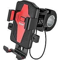 Support Téléphone Moto,Support Téléphone Vélo Fixation Guidon Moto avec Rotation 360 Degrés Anti-Vibration pour…