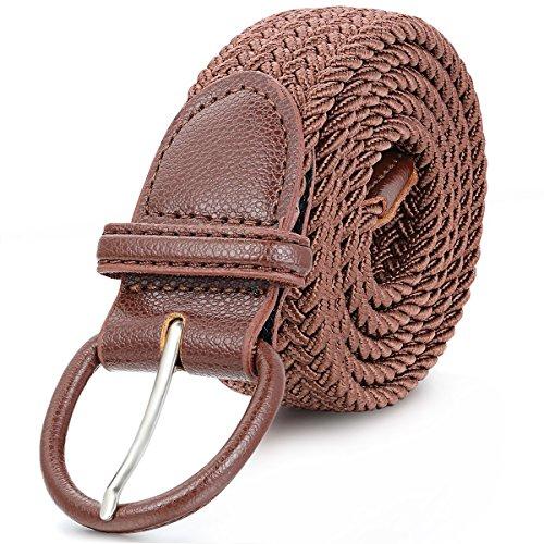 JewelryWe Joyería Elástico Cinturón Trenzado Marrón, Largo y Cómodo con Hebilla, Retro Vintage Cinturón Ajustable 150cm Máximo, Para Hombre Mujer Estilo Unisex