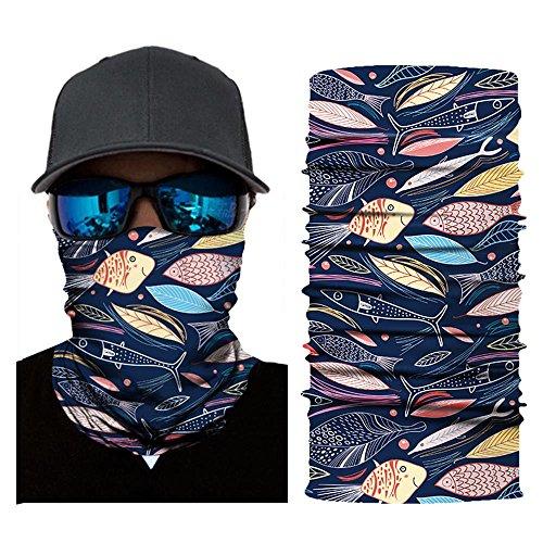 Wokee Multifunktionstuch Bedrucktes Kopftuch Halstuch Ausgefallenem Design Gesichtsmaske Ski Balaclava Stirnband für Motorrad Ski,Verschiedene Muster (E)