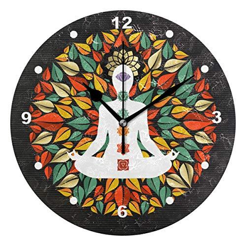 SUNOP Uhr für Kinder, mit Öl Bedruckt, 1 Mandala aus Baum Blättern mit Yoga, Lotuspose, Wanduhren für Wohnzimmer, Schlafzimmer und Küche, Vintage-Stil