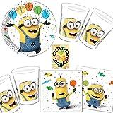 Minions Balloons Party Partyset 52tlg. Teller Becher Servietten für 16 Kinder