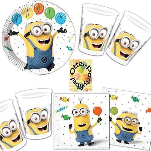 HHO Minions Balloons Party Partyset 36tlg. Teller Becher Servietten für 8 Kinder