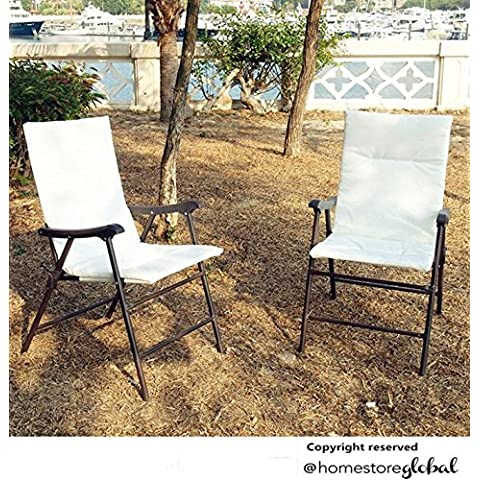 HomeStore Global, Fiestas de Regalo de Navidad, Juego de 2 sillas de jardín sillas plegables - información útil y conveniente - Sillón con acolchado de espuma y cierre de seguridad - además - vidrio -Set muebles de jardín mesa + 2 sillas plegables Bistro ASIN # B00ATIH466
