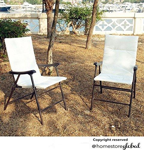 HomeStore Global, regalo partiti di festa 2 x sedie Bistro Biergarten pieghevole per giardino / Bianco -- (supplementare per) for Mobili da giardino 1 tavolo e 2 sedie pieghevoli