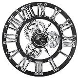 Orologio da parete rotondo da 16 ', design vintage in legno antico fatto a mano da 3D Gear, di Chevy K. (argento con numeri romani)