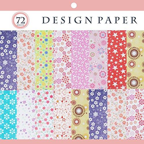72 Blätter Origami Papier, Origami Papier Quadrat Blätter mit 12 verschiedenen Farben und Mustern 15cm x 15cm