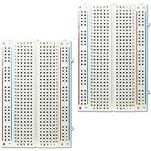 COM-FOUR® 2x Breadboard Steckbrett Laborsteckboard Lochraster Experimentierbrett Steckboard mit 400 Kontakten