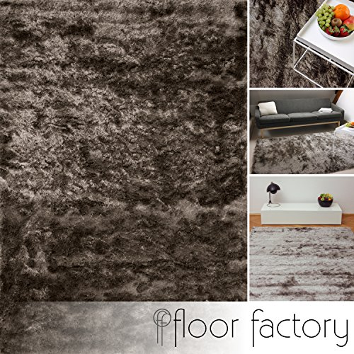 floor factory Tappeto esclusivo moderno Satin grigio argento 80x150 cm - tappeto shaggy pelo lungo