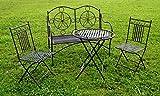 """Exklusive 4tlg. Sitzgruppe """"Cielo"""", Bank, Gartentisch und 2 Stühle, Gartengarnitur, sehr stabile Metallausführung"""