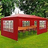 Deuba Festzelt Rimini 3x6m | UV-Schutz 50+ 18m² 6 Seitenteile wasserabweisend | Pavillon Partyzelt Gartenzelt Festival | Rot