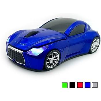 TDRTECH 2.4GHz Ratón Inalámbrico, [Estilo Deportivo] Cool Ratón con Forma de Coche, 3D 1600 DPI para Laptop, PC, Ordenador, Chromebook, Notebook (Azul)