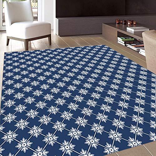 Teppich,Fußmatten Teppich 60CM*140CM,Indigo,Bereich Teppich,Antike griechische Fliese inspiriertes Design mit floralen Blütenblattdetails,Home-Matte,Grau-Gelb-Rot,Rutschfester Gummi,Innen-/Haustür/Küc -