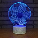 Leisurely Lazy New Football Soccer Shape 3D Optical Illusion Lamp 7 Colors Change Touch Button and 20 Keys Remote Controller LED Night Light Perfect Gifts Toys for Children Kids