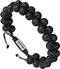 Armband Männer Perlenarmband Stein Armband aus Lava Rock mit einstellbar Verschluss Parfum Diffusor,7''-9'' Perfektes Geschenk