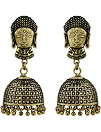 Spargz Buddha German Silver Antique Gold Plated Artificial Jewellery Jhumka Earring Set For Women And Girls AIER...