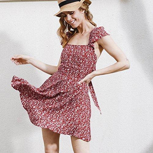 Bekleidung Longra Damen Sommer Kleid Floral Straps Minikleid Unterhemd ärmelloses Blume Kleid Red