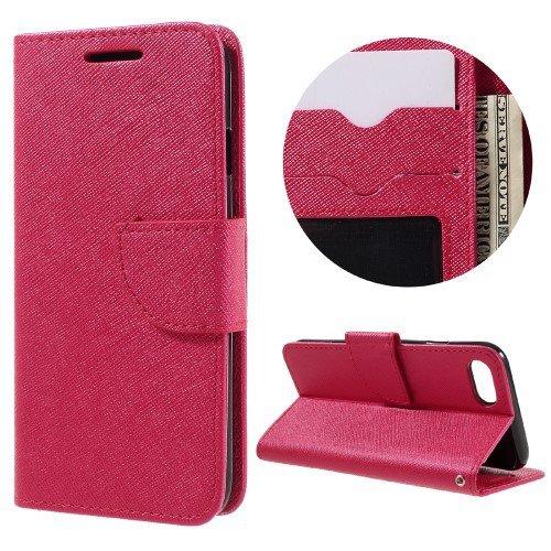 jbTec® Flip Case Handy-Hülle zu Apple iPhone 8 / iPhone 7 - BOOK EINFARBIG - Handy-Tasche, Schutz-Hülle, Cover, Handyhülle, Ständer, Bookstyle, Booklet, Farbe:Deep Pink Rot