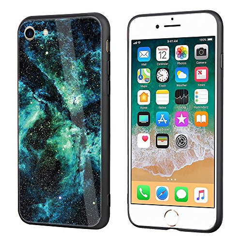 iphone 7 Tempered Glass Case,SUNWAY [Starry Sky][Scratch Resistant] 3 In 1 Ultra-Thin PC Hard Cover 360 Degree Protection Slim Case For Apple iphone 7 - Green