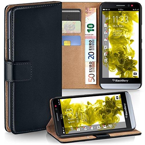 BlackBerry Z30 Hülle Schwarz mit Karten-Fach [OneFlow 360° Book Klapp-Hülle] Handytasche Kunst-Leder Handyhülle für BlackBerry Z30 Case Flip Cover Schutzhülle Tasche