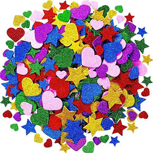 Tatuo Schiuma Glitter Adesivi in Schiuma a Forme Cuori Stella Adesivi Colorati Autoadesivi Schiuma Sticker per San Valentino Carte, Bambini Arti Craft Forniture (600 Pezzi)