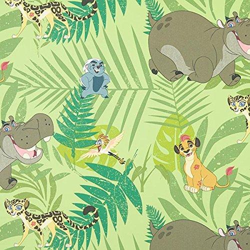 Baumwollstoff, Disney Lion, grün – Meterware ab 0,5 m – Oeko-Tex Standard 100 – Bekleidungsstoff und Dekostoff zum Nähen von Kinderartikeln, Outdoor-Deko und Kissen und Tagesdecken